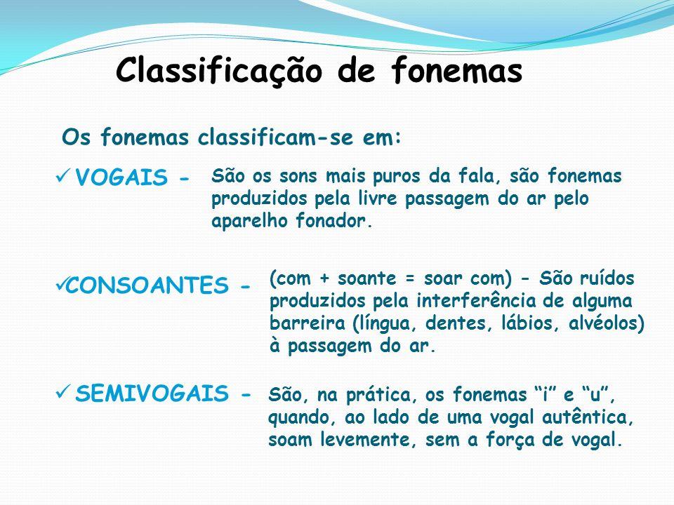 Classificação de fonemas Os fonemas classificam-se em: VOGAIS - CONSOANTES - SEMIVOGAIS - São os sons mais puros da fala, são fonemas produzidos pela livre passagem do ar pelo aparelho fonador.
