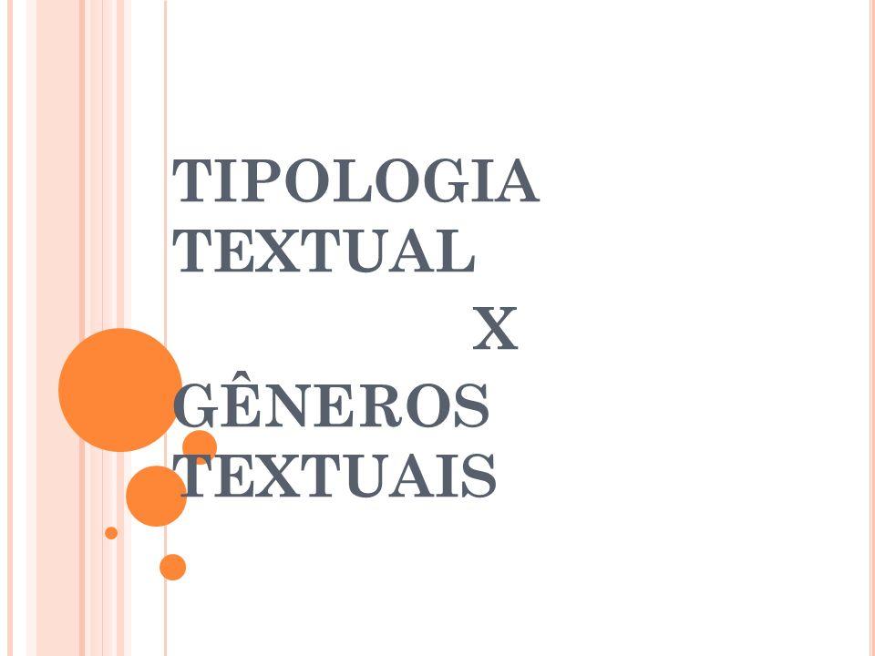 TIPOLOGIA TEXTUAL X GÊNEROS TEXTUAIS