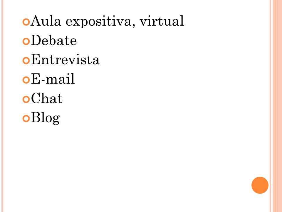 Aula expositiva, virtual Debate Entrevista E-mail Chat Blog