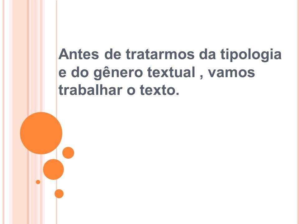 Antes de tratarmos da tipologia e do gênero textual, vamos trabalhar o texto.