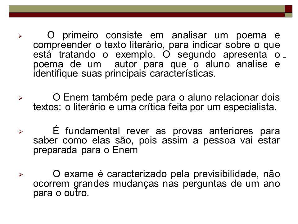 01) O trecho a seguir é parte do poema Mocidade e morte, do poeta romântico Castro Alves: Oh.
