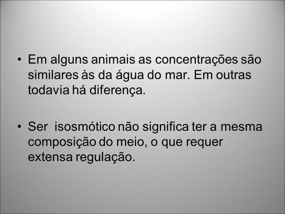 Em alguns animais as concentrações são similares às da água do mar. Em outras todavia há diferença. Ser isosmótico não significa ter a mesma composiçã