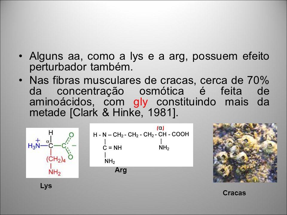 Alguns aa, como a lys e a arg, possuem efeito perturbador também. Nas fibras musculares de cracas, cerca de 70% da concentração osmótica é feita de am