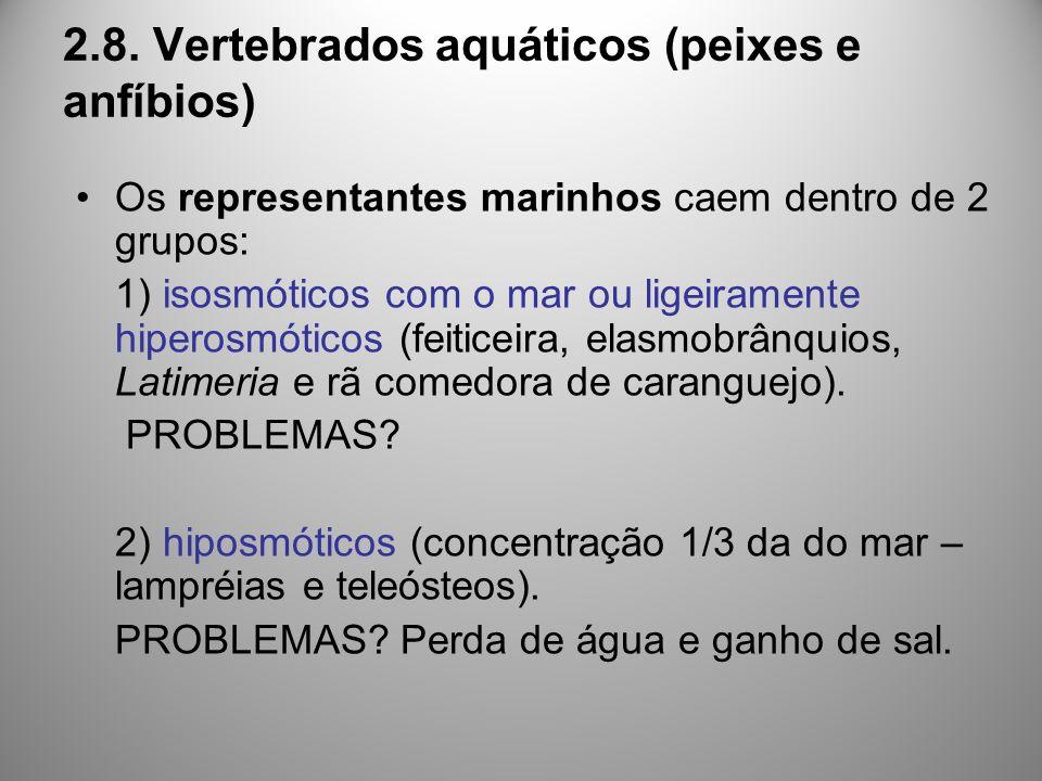 2.8. Vertebrados aquáticos (peixes e anfíbios) Os representantes marinhos caem dentro de 2 grupos: 1) isosmóticos com o mar ou ligeiramente hiperosmót