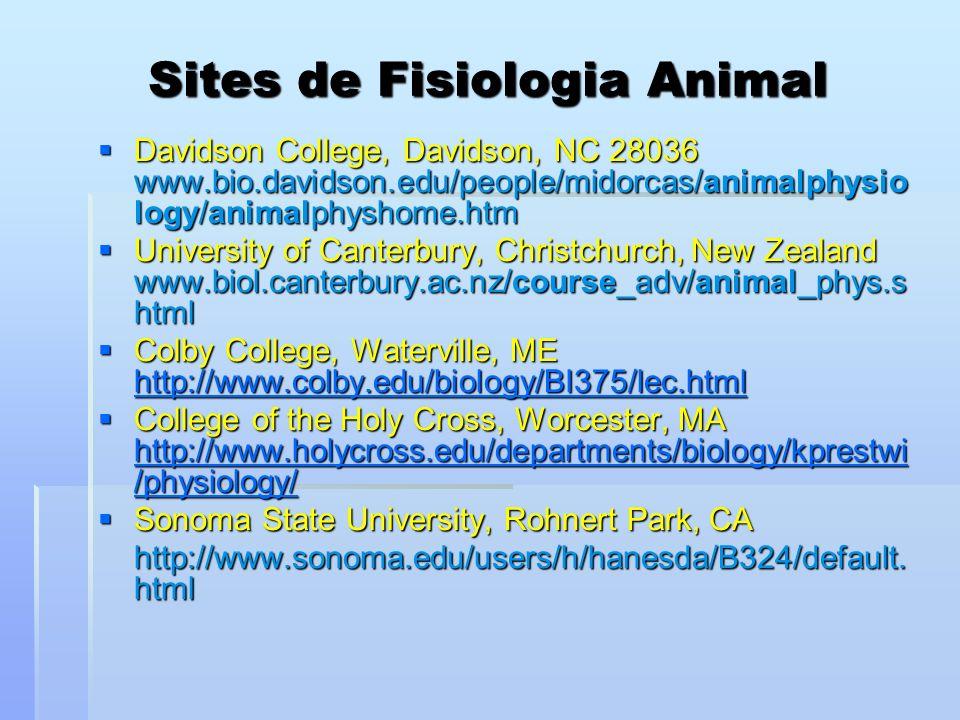 Sites de Fisiologia Animal Davidson College, Davidson, NC 28036 www.bio.davidson.edu/people/midorcas/animalphysio logy/animalphyshome.htm Davidson Col