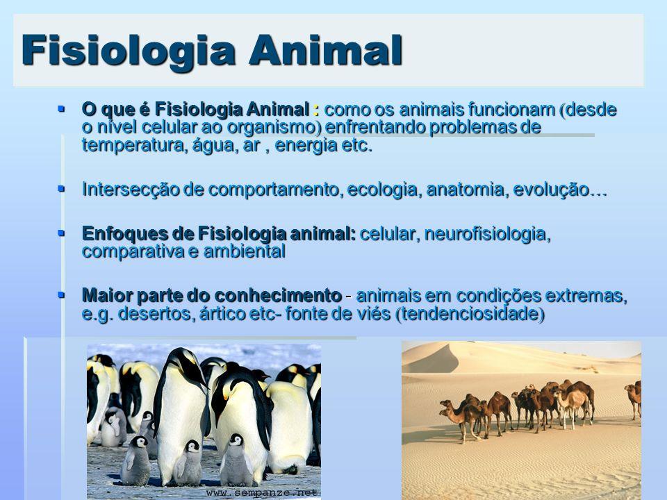 O que é Fisiologia Animal : como os animais funcionam desde o nível celular ao organismo enfrentando problemas de temperatura, água, ar, energia etc.