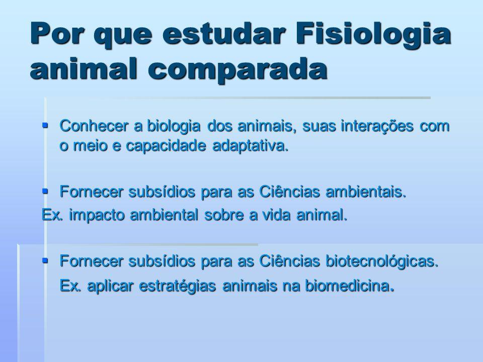 Por que estudar Fisiologia animal comparada Conhecer a biologia dos animais, suas interações com o meio e capacidade adaptativa. Conhecer a biologia d