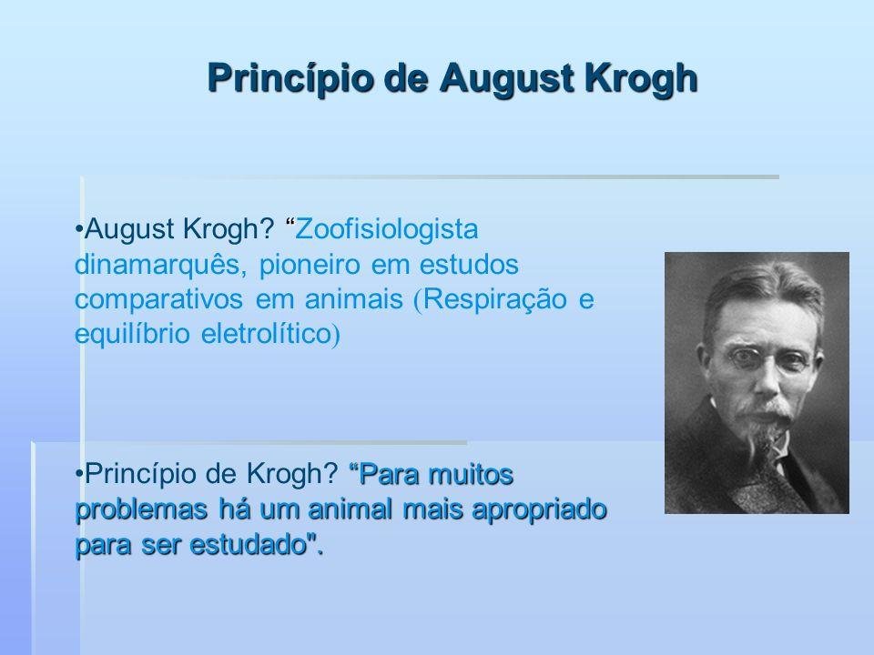Princípio de August Krogh August Krogh? Zoofisiologista dinamarquês, pioneiro em estudos comparativos em animais Respiração e equilíbrio eletrolítico