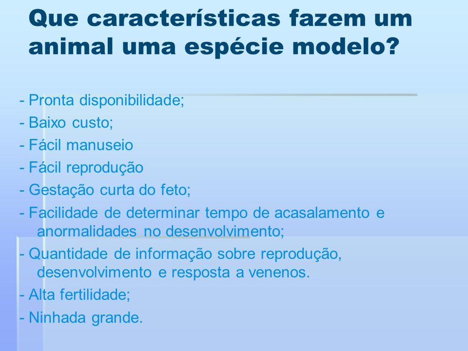 Que características fazem um animal uma espécie modelo? - Pronta disponibilidade; - Baixo custo; - Fácil manuseio - Fácil reprodução - Gestação curta