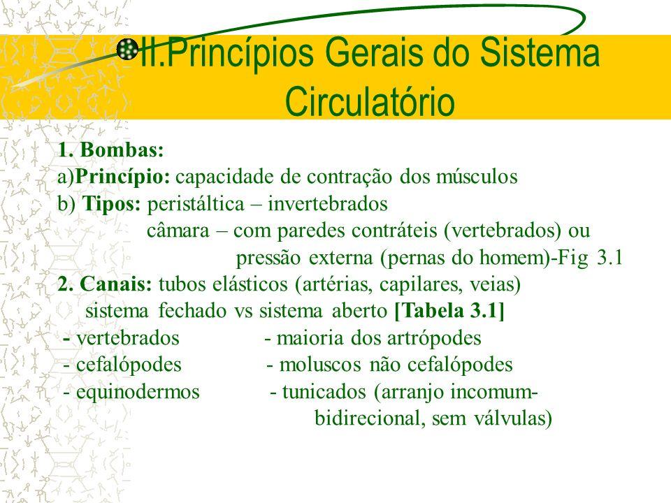 II.Princípios Gerais do Sistema Circulatório 1. Bombas: a)Princípio: capacidade de contração dos músculos b) Tipos: peristáltica – invertebrados câmar