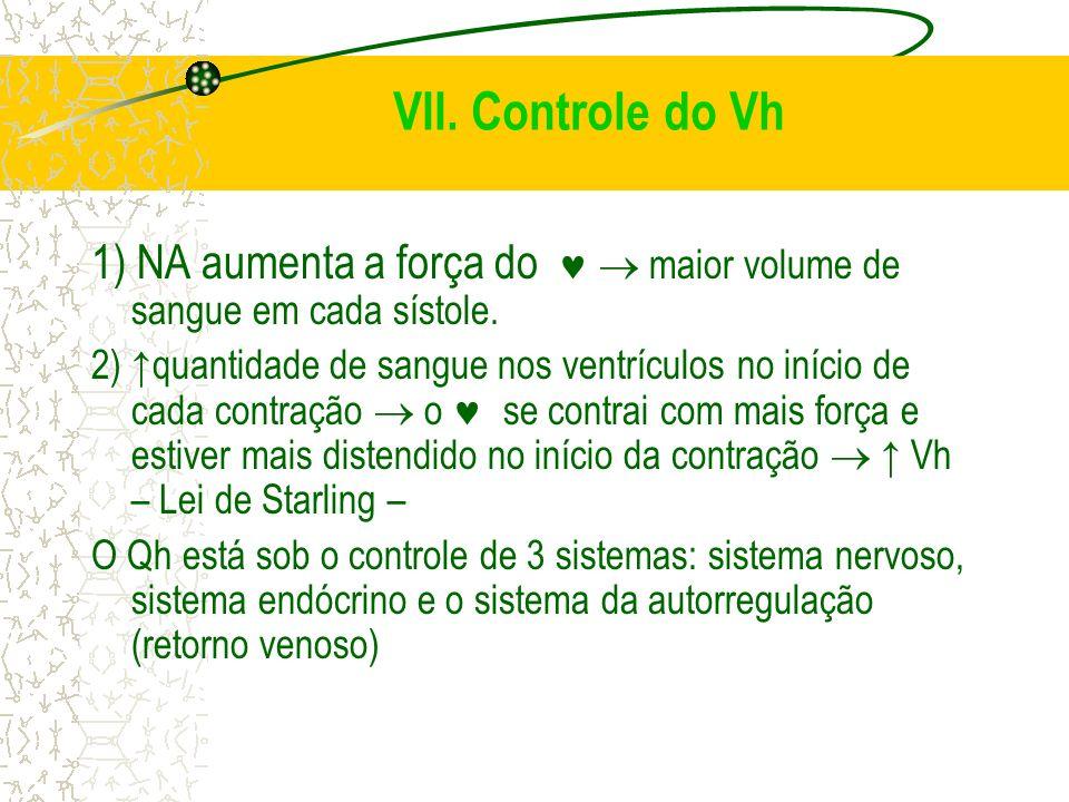 VII. Controle do Vh 1) NA aumenta a força do maior volume de sangue em cada sístole. 2) quantidade de sangue nos ventrículos no início de cada contraç