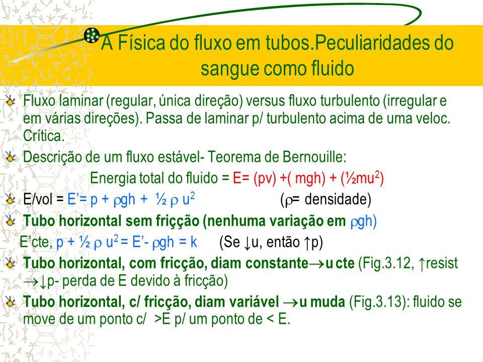 A Física do fluxo em tubos.Peculiaridades do sangue como fluido Fluxo laminar (regular, única direção) versus fluxo turbulento (irregular e em várias