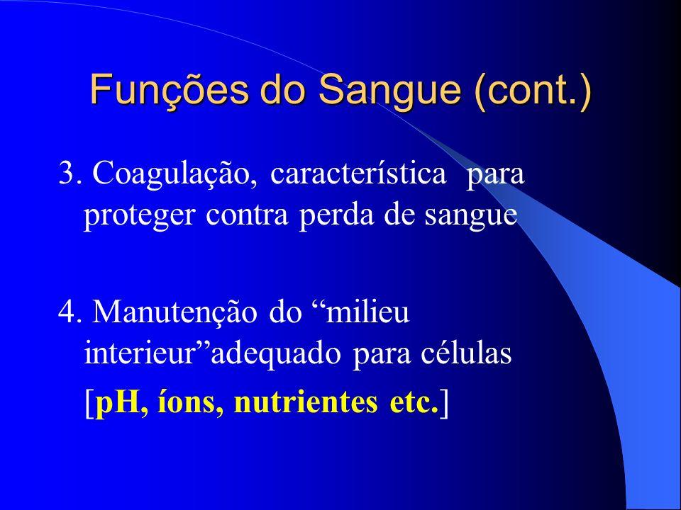 Funções do Sangue (cont.) 3. Coagulação, característica para proteger contra perda de sangue 4. Manutenção do milieu interieuradequado para células [p