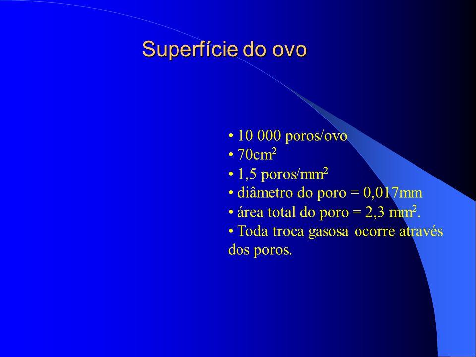 Superfície do ovo 10 000 poros/ovo 70cm 2 1,5 poros/mm 2 diâmetro do poro = 0,017mm área total do poro = 2,3 mm 2. Toda troca gasosa ocorre através do