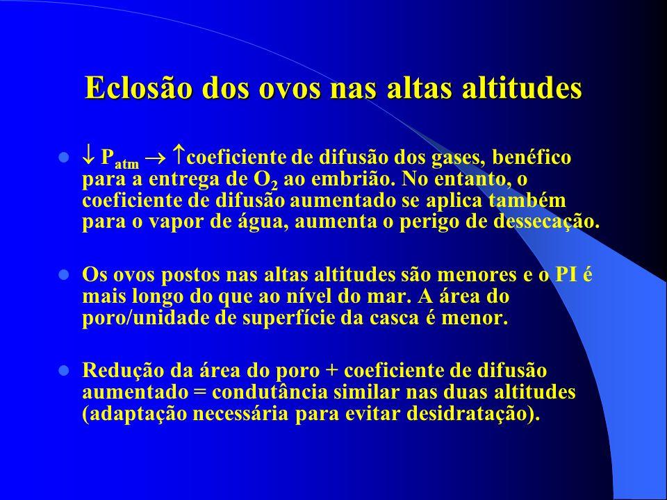 Eclosão dos ovos nas altas altitudes P atm coeficiente de difusão dos gases, benéfico para a entrega de O 2 ao embrião. No entanto, o coeficiente de d
