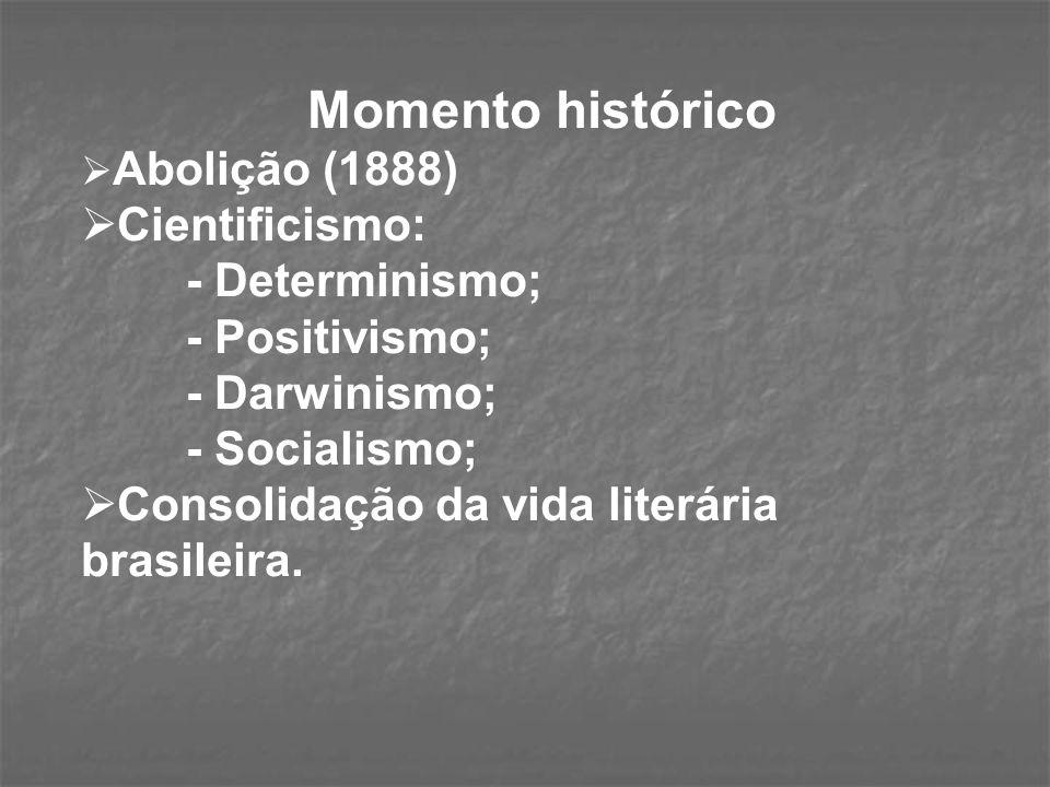 Momento histórico Abolição (1888) Cientificismo: - Determinismo; - Positivismo; - Darwinismo; - Socialismo; Consolidação da vida literária brasileira.