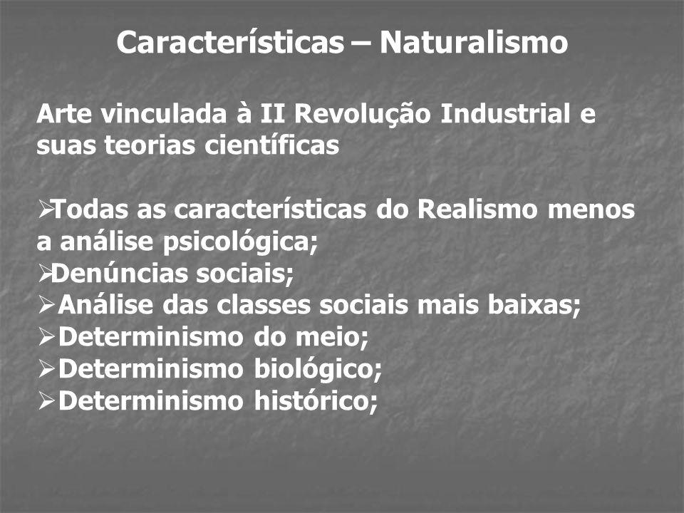 Características – Naturalismo Arte vinculada à II Revolução Industrial e suas teorias científicas Todas as características do Realismo menos a análise psicológica; Denúncias sociais; Análise das classes sociais mais baixas; Determinismo do meio; Determinismo biológico; Determinismo histórico;
