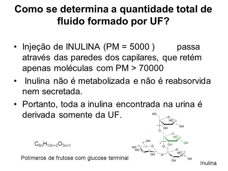 Como se determina a quantidade total de fluido formado por UF? Injeção de INULINA (PM = 5000 ) passa através das paredes dos capilares, que retém apen
