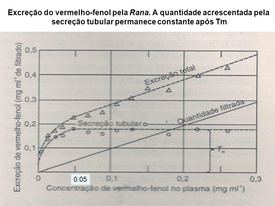 Excreção do vermelho-fenol pela Rana. A quantidade acrescentada pela secreção tubular permanece constante após Tm 0.05