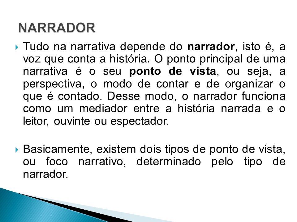 Tudo na narrativa depende do narrador, isto é, a voz que conta a história. O ponto principal de uma narrativa é o seu ponto de vista, ou seja, a persp