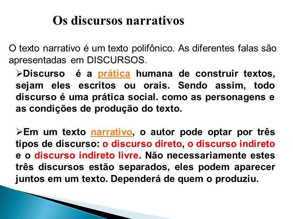 Os discursos narrativos O texto narrativo é um texto polifônico. As diferentes falas são apresentadas em DISCURSOS. Discurso é a prática humana de con