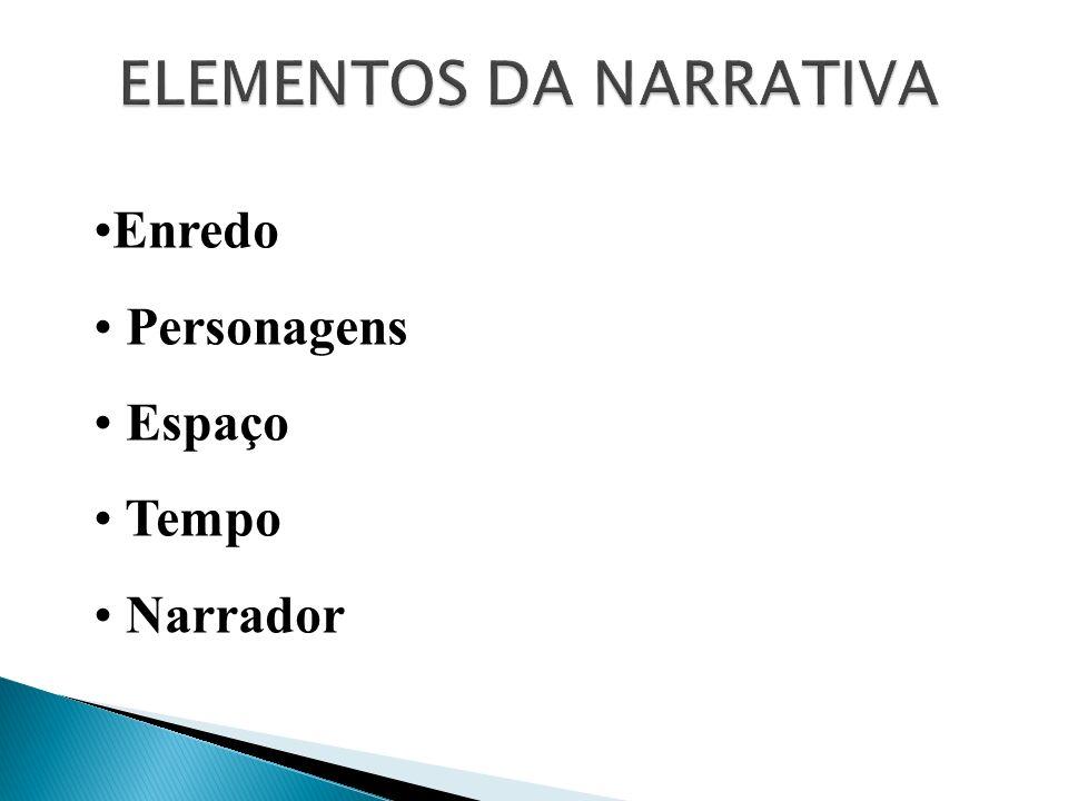 ELEMENTOS DA NARRATIVA Enredo Personagens Espaço Tempo Narrador