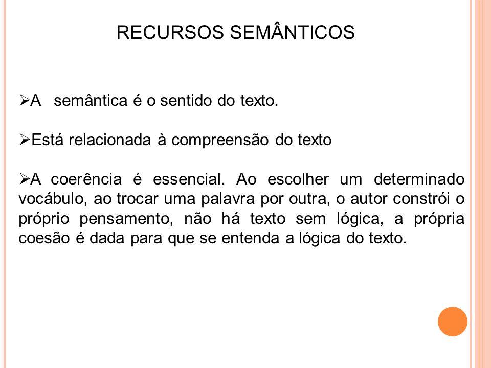 RECURSOS SEMÂNTICOS A semântica é o sentido do texto.