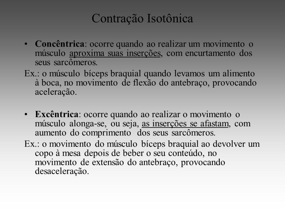 Contração Isotônica Concêntrica: ocorre quando ao realizar um movimento o músculo aproxima suas inserções, com encurtamento dos seus sarcômeros.