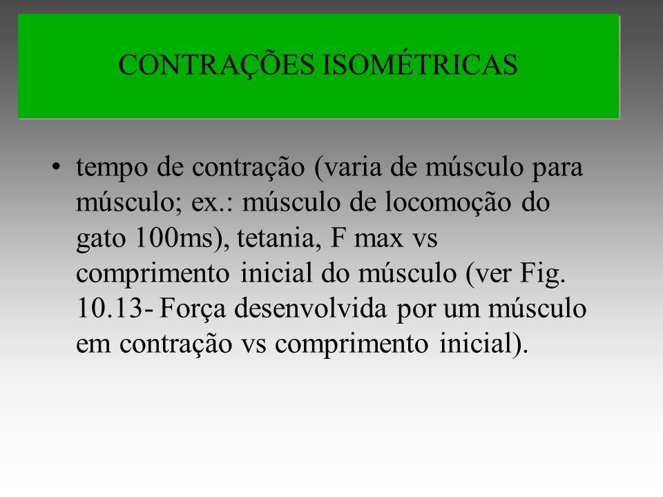 tempo de contração (varia de músculo para músculo; ex.: músculo de locomoção do gato 100ms), tetania, F max vs comprimento inicial do músculo (ver Fig.