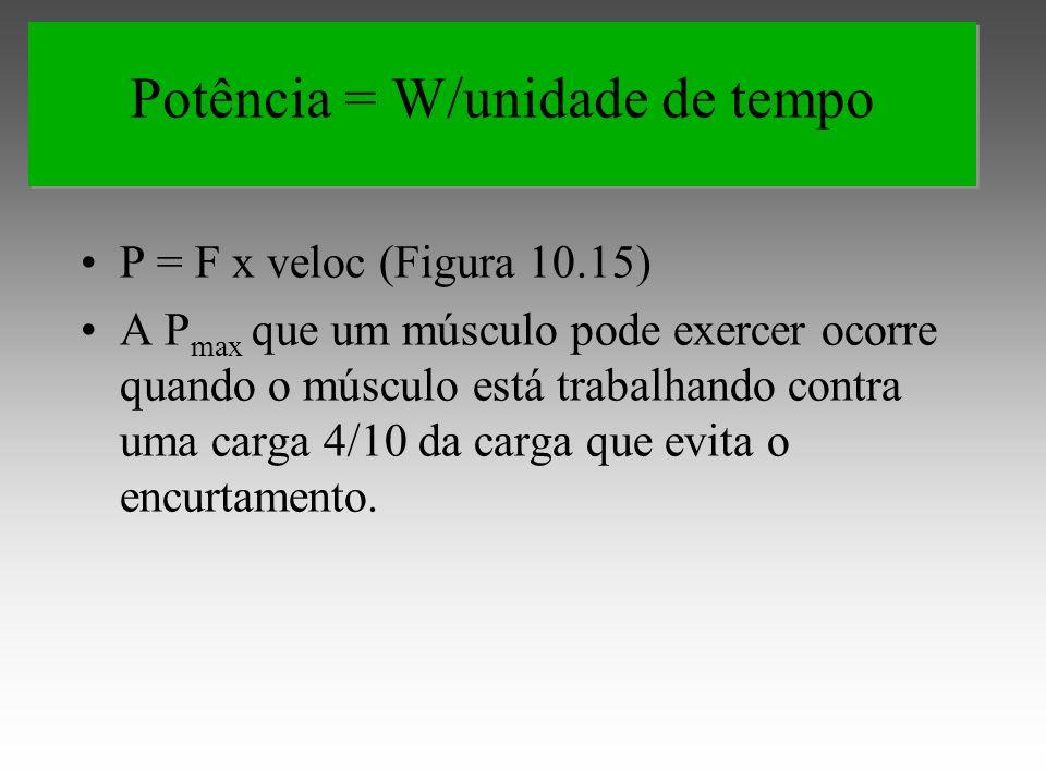 P = F x veloc (Figura 10.15) A P max que um músculo pode exercer ocorre quando o músculo está trabalhando contra uma carga 4/10 da carga que evita o encurtamento.