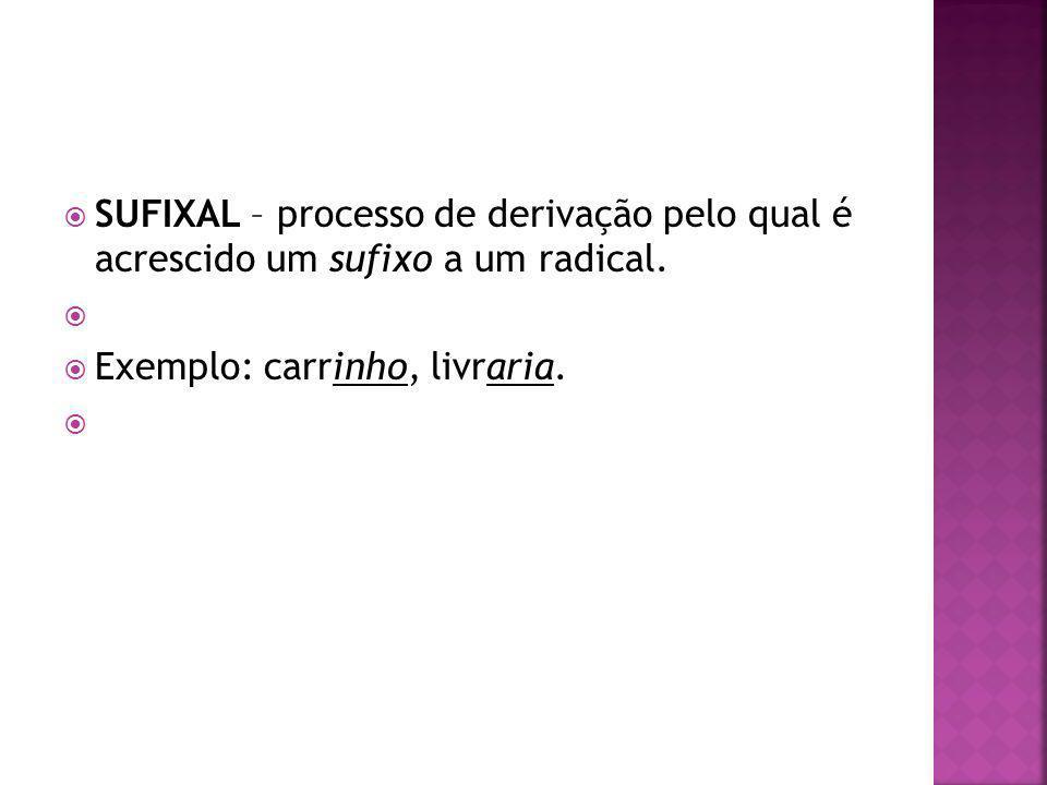 SUFIXAL – processo de derivação pelo qual é acrescido um sufixo a um radical. Exemplo: carrinho, livraria.