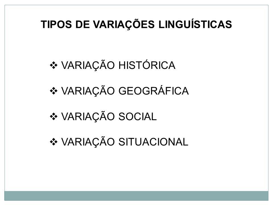 TIPOS DE VARIAÇÕES LINGUÍSTICAS VARIAÇÃO HISTÓRICA VARIAÇÃO GEOGRÁFICA VARIAÇÃO SOCIAL VARIAÇÃO SITUACIONAL
