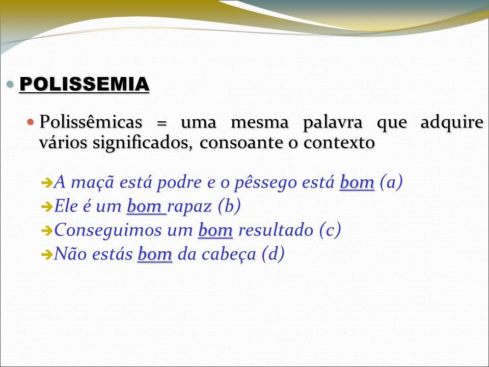POLISSEMIA POLISSEMIA Polissêmicas = uma mesma palavra que adquire vários significados, consoante o contexto Polissêmicas = uma mesma palavra que adqu