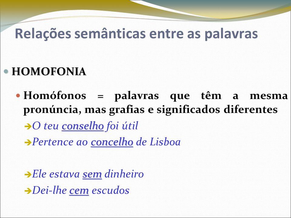 Relações semânticas entre as palavras HOMOFONIA HOMOFONIA Homófonos = palavras que têm a mesma pronúncia, mas grafias e significados diferentes consel