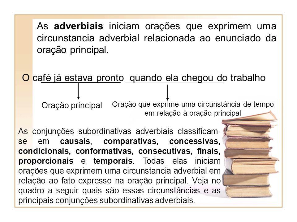 As adverbiais iniciam orações que exprimem uma circunstancia adverbial relacionada ao enunciado da oração principal. O café já estava pronto quando el