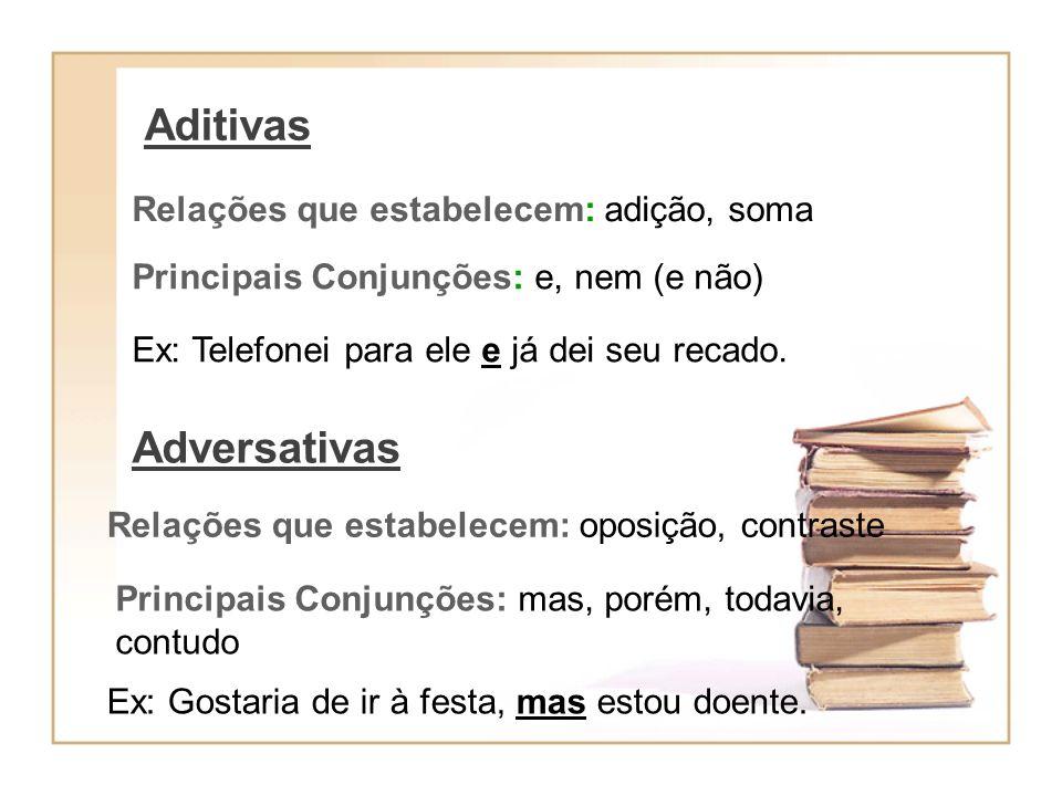 Alternativas Relações que estabelecem: separação, exclusão Principais Conjunções: ou, ou...