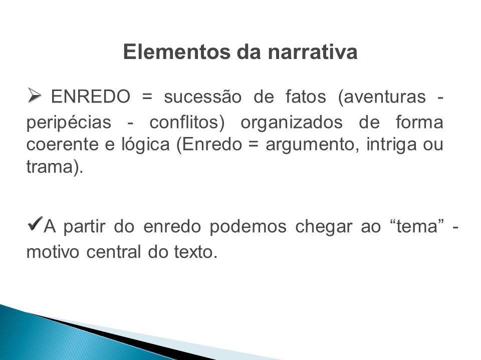 Elementos da narrativa ENREDO = sucessão de fatos (aventuras - peripécias - conflitos) organizados de forma coerente e lógica (Enredo = argumento, int