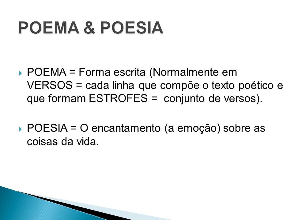 POEMA = Forma escrita (Normalmente em VERSOS = cada linha que compõe o texto poético e que formam ESTROFES = conjunto de versos). POESIA = O encantame
