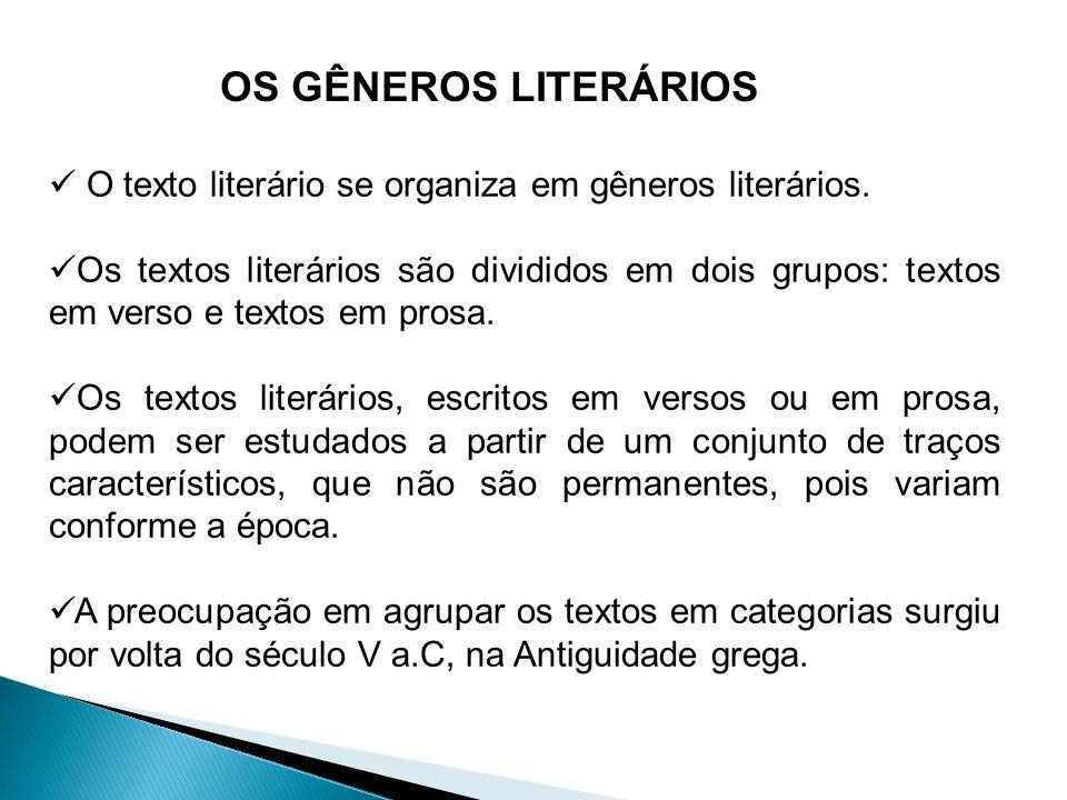 OS GÊNEROS LITERÁRIOS O texto literário se organiza em gêneros literários. Os textos literários são divididos em dois grupos: textos em verso e textos