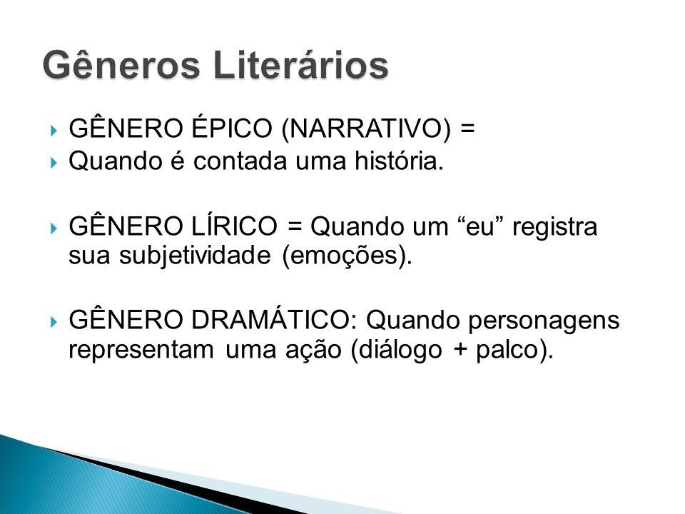 GÊNERO ÉPICO (NARRATIVO) = Quando é contada uma história. GÊNERO LÍRICO = Quando um eu registra sua subjetividade (emoções). GÊNERO DRAMÁTICO: Quando