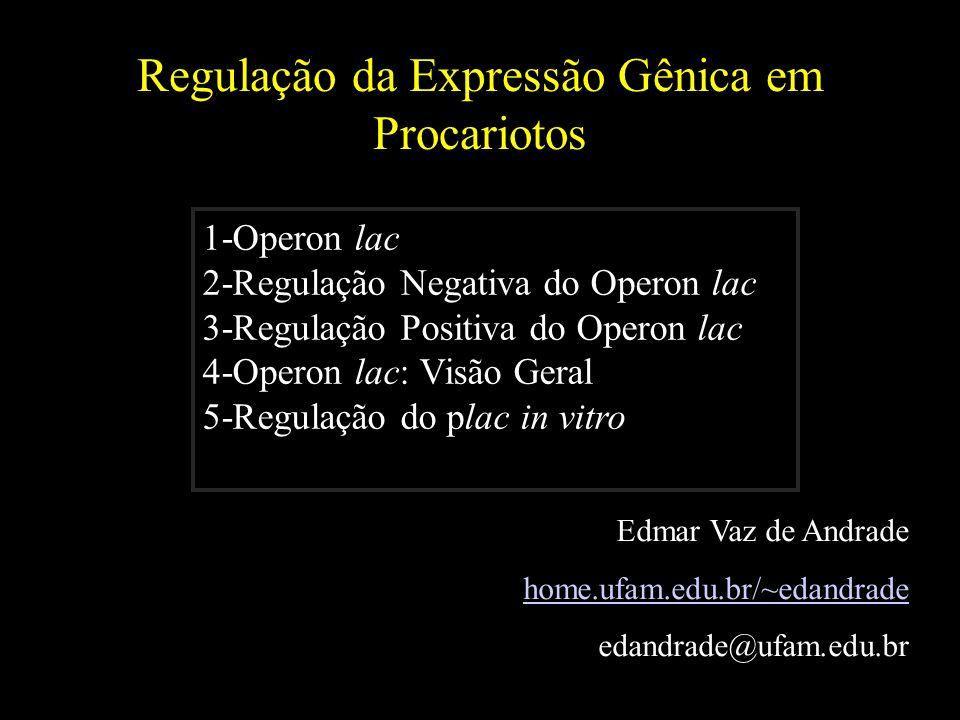 Regulação da Expressão Gênica em Procariotos Edmar Vaz de Andrade home.ufam.edu.br/~edandrade edandrade@ufam.edu.br 1-Operon lac 2-Regulação Negativa