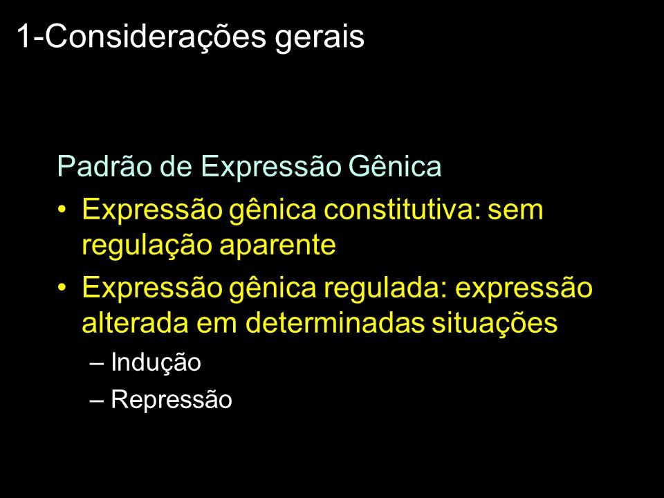 Padrão de Expressão Gênica Expressão gênica constitutiva: sem regulação aparente Expressão gênica regulada: expressão alterada em determinadas situaçõ