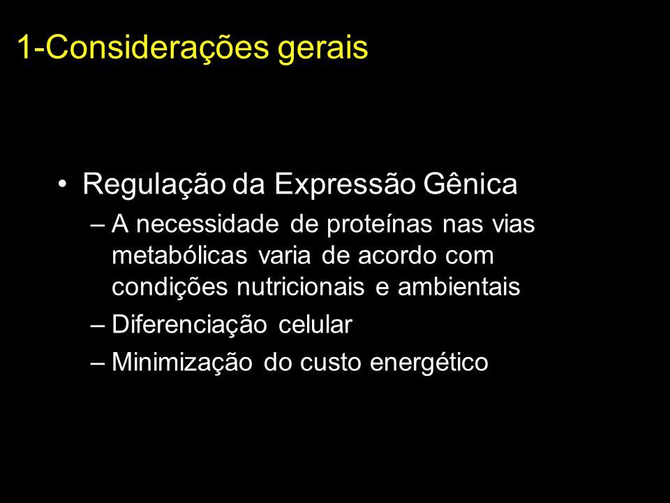 1-Considerações gerais Regulação da Expressão Gênica –A necessidade de proteínas nas vias metabólicas varia de acordo com condições nutricionais e amb