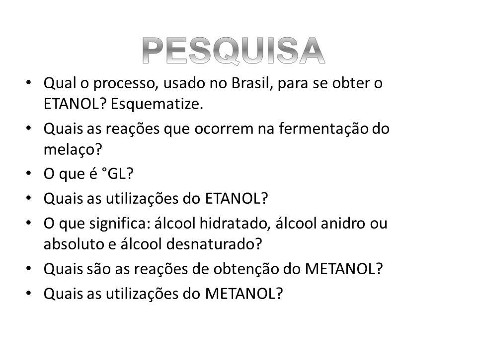 Qual o processo, usado no Brasil, para se obter o ETANOL.