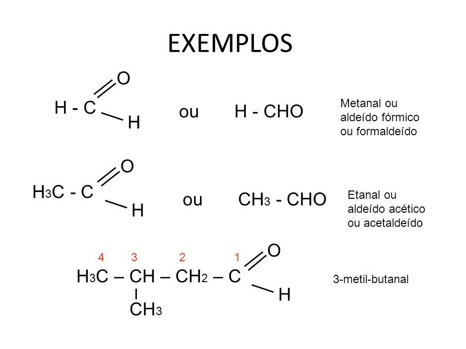 H - C O H ou H - CHO H 3 C - C O H ou CH 3 - CHO H 3 C – CH – CH 2 – C H O CH 3 EXEMPLOS Metanal ou aldeído fórmico ou formaldeído Etanal ou aldeído acético ou acetaldeído 3-metil-butanal 1432