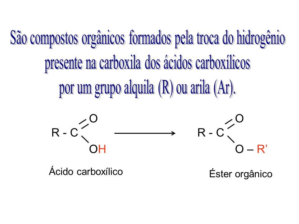 R - C O OHOH O O – R Ácido carboxílico Éster orgânico