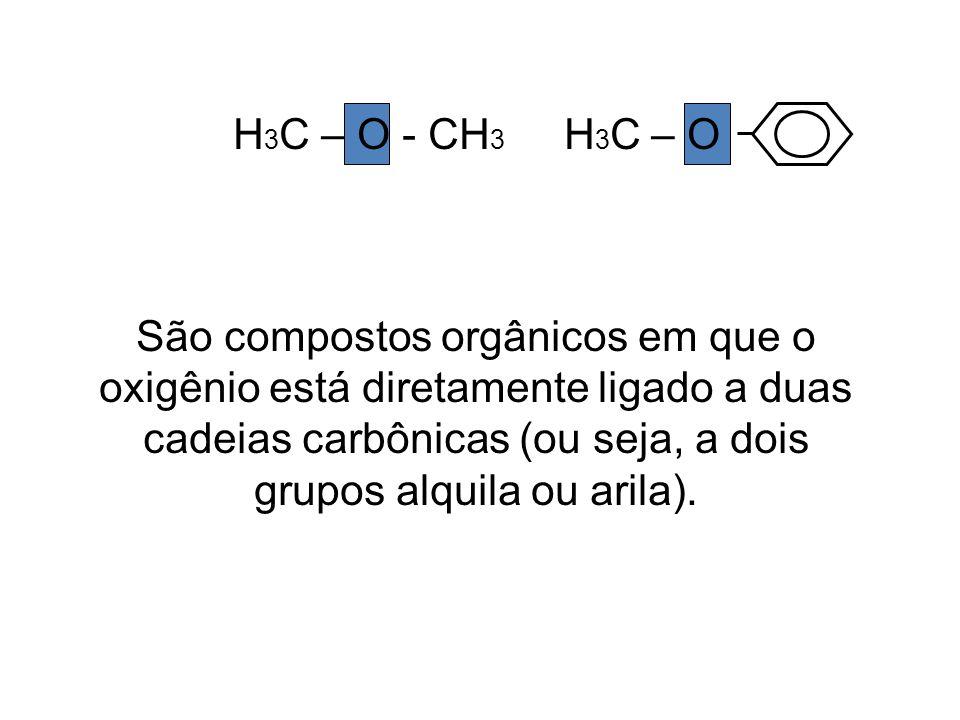 H 3 C – O - CH 3 H 3 C – O São compostos orgânicos em que o oxigênio está diretamente ligado a duas cadeias carbônicas (ou seja, a dois grupos alquila ou arila).