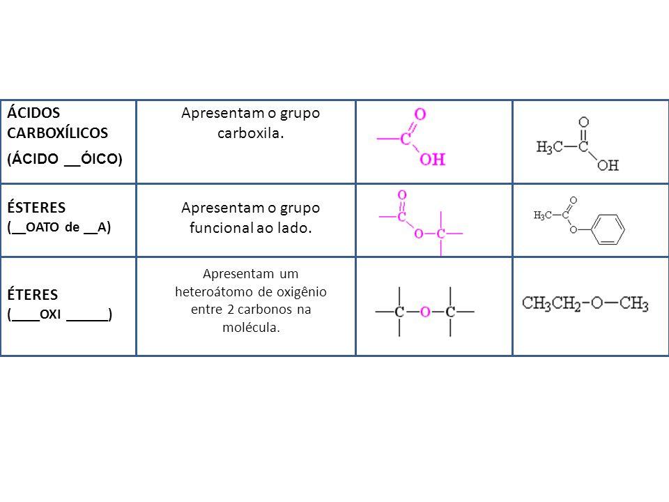 ÁCIDOS CARBOXÍLICOS Apresentam o grupo carboxila.