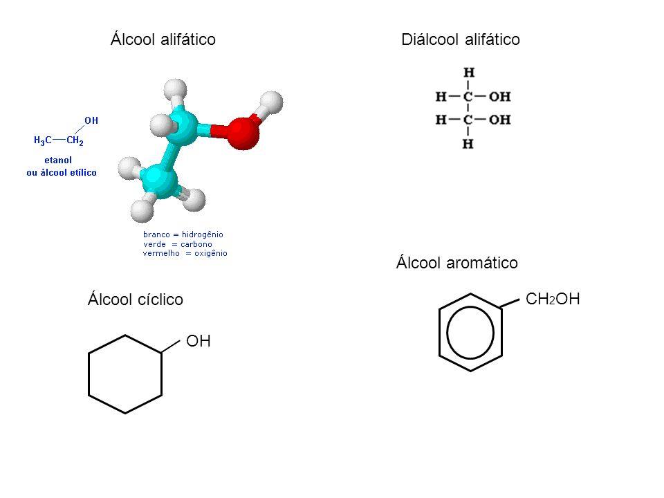 Álcool alifáticoDiálcool alifático Álcool cíclico Álcool aromático CH 2 OH OH