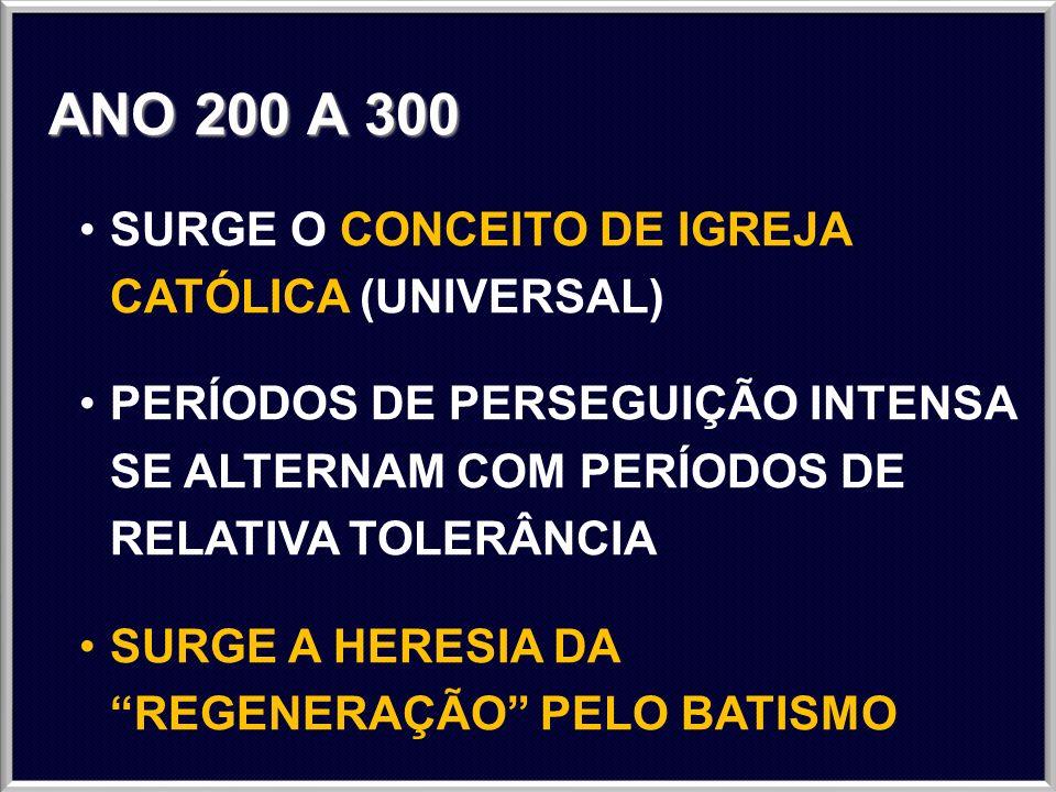 ANO 300 A 400 ESTRUTURAÇÃO HIERÁRQUICA DA IGREJA CATÓLICA (UNIVERSAL) INICIADO O BATISMO INFANTIL O IMPERADOR CONSTANTINO ADOTA O CRISTIANISMO COMO RELIGIÃO OFICIAL DO IMPÉRIO ROMANO UNIÃO DA IGREJA E DO ESTADO 3 BISPADOS (ANTIOQUIA, ALEXANDRIA E ROMA) SURGEM OS ANABATISTAS